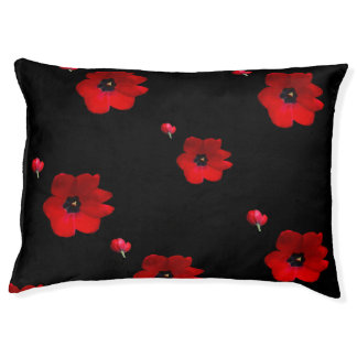 Open Red Tulips on Black Pet Bed Large Dog Bed