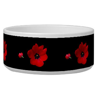 Open Red Tulips on Black Pet Bowl