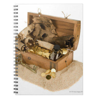 Open replica of treasure chest on sand spiral notebooks