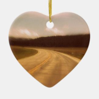 Open Road Nostalgic Postcard Image Ceramic Heart Ornament