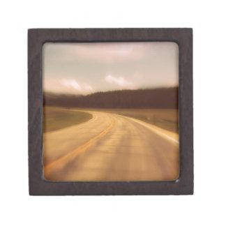 Open Road Nostalgic Postcard Image Premium Jewelry Boxes