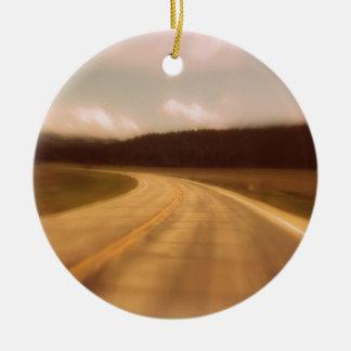 Open Road Nostalgic Postcard Image Round Ceramic Ornament