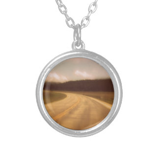 Open Road Nostalgic Postcard Image Silver Plated Necklace
