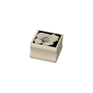 Open Rose on Black Rubber Stamp