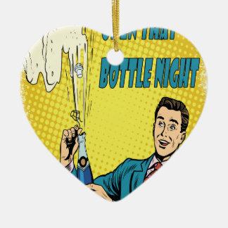 Open That Bottle Night - Appreciation Day Ceramic Heart Ornament