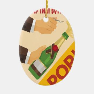 Open That Bottle Night - Appreciation Day Ceramic Oval Ornament