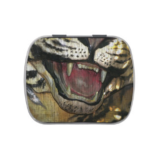 Open tiger mouth grunged image