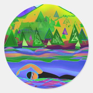 Open Water Solo Classic Round Sticker
