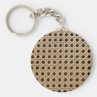 Open Weave Rattan Cane Key Ring Basic Round Button Keychain