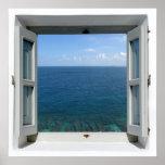 Open Window Blue Ocean Sea View Poster