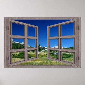 Open Window To Moon Over Tuolumne Meadows Poster