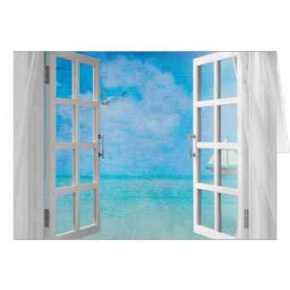 open window view of ocean card
