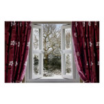 Open window with view to a snowy winter scene poster