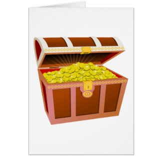 Open Wooden Treasure Chest with Shiny Gold Coins Card