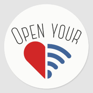 Open Your {WiFi,Heart} Classic Round Sticker