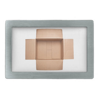 Opened corrugated cardboard box belt buckles