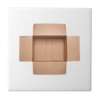 Opened corrugated cardboard box ceramic tile