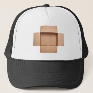 Opened corrugated cardboard box trucker hat