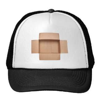 Opened corrugated cardboard box trucker hat