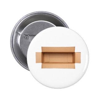 Opened retangular cardboard box 2 inch round button