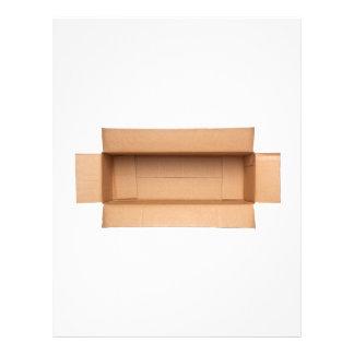 Opened retangular cardboard box letterhead