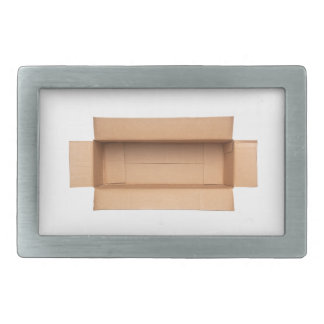 Opened retangular cardboard box rectangular belt buckle