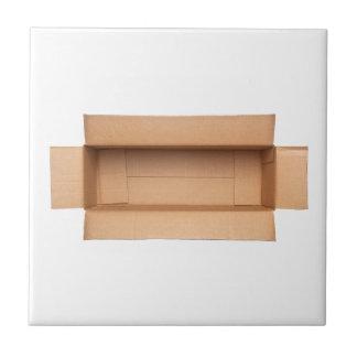 Opened retangular cardboard box tiles