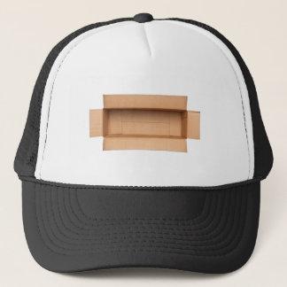 Opened retangular cardboard box trucker hat
