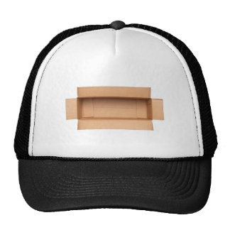 Opened retangular cardboard box trucker hat