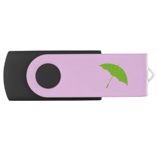Opened Umbrella, Polka Dots - Green White USB Flash Drive