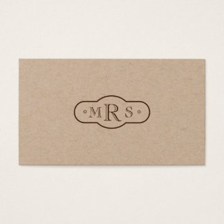 Openface Font Monogrammed Retro Bistre Business Card