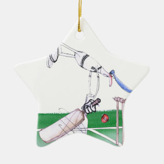 Opening Bat - cricket, tony fernandes Ceramic Star Ornament