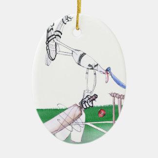 Opening Bat - cricket, tony fernandes Ceramic Oval Ornament