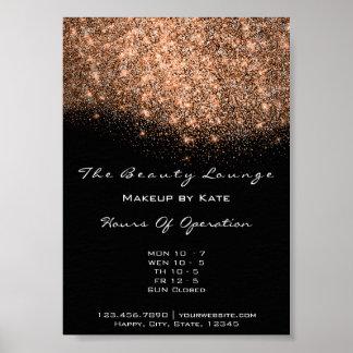 Opening Hours Beauty Makeup Studio Copper Black Poster