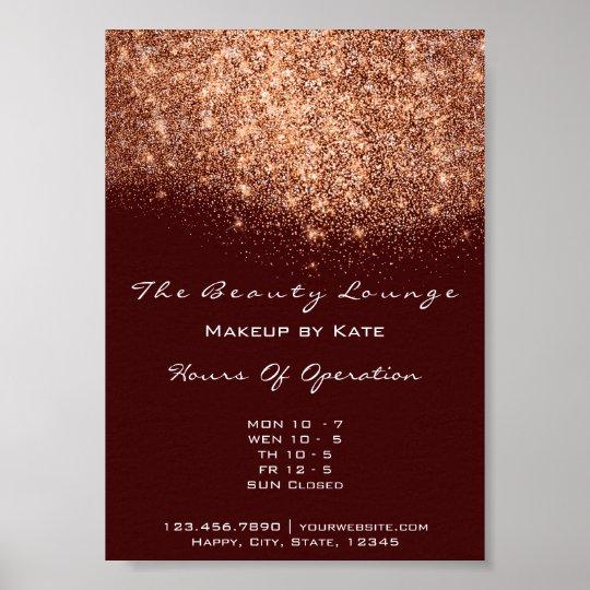 Opening Hours Beauty Makeup Studio Copper Maroon Poster