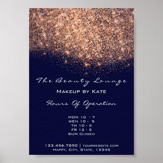 Opening Hours Beauty Makeup Studio Copper Navy Blu Poster