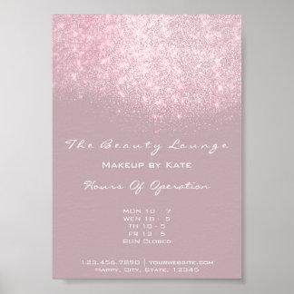 Opening Hours Beauty Makeup Studio Pink Glitter Poster