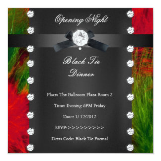 """Opening Night Black Tie Formal Red Black Silver 5.25"""" Square Invitation Card"""