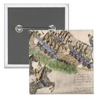 Opening of the Battle of the Little Big Horn (ink 2 Inch Square Button