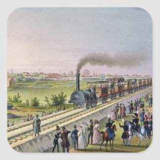 Opening of the First Railway Line Square Sticker