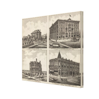 Opera House and Residences in Kansas Canvas Print