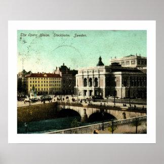 Opera House, Stockholm, Sweden Vintage Poster