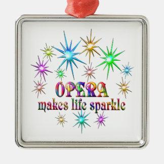 Opera Sparkles Silver-Colored Square Ornament