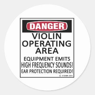 Operating Area Violin Classic Round Sticker
