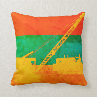 Operating Engineer Colorful Crane Bulldozer Throw Pillow