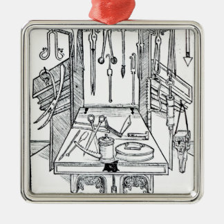 Operating table and surgical instruments, from 'Da Metal Ornament