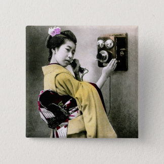 Operator Wont You Help Me Make This Call Geisha 2 Inch Square Button