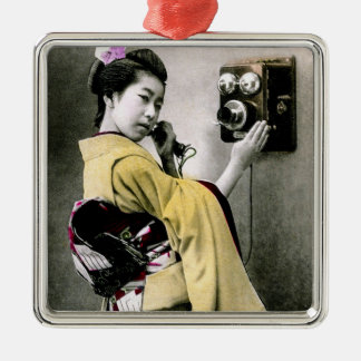 Operator Wont You Help Me Make This Call Geisha Silver-Colored Square Ornament