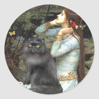 Ophelia - black Persian cat Classic Round Sticker