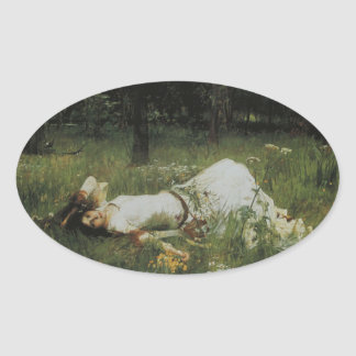 Ophelia [John William Waterhouse] Oval Sticker